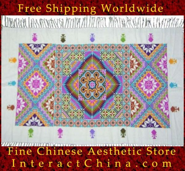 "Hand Cross Stitch Quilt Tapestry Throw 34x62"" Embroidery Textile Sewing Art #137"