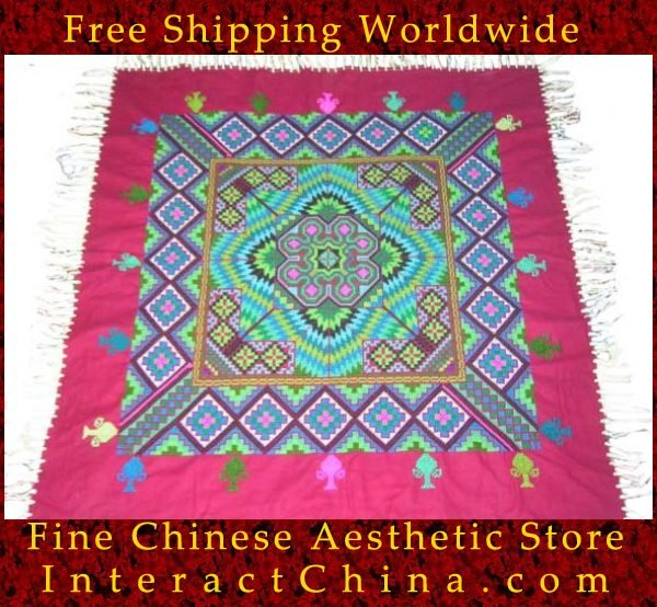 "Hand Cross Stitch Quilt Tapestry Throw 44x44"" Embroidery Textile Sewing Art #130"
