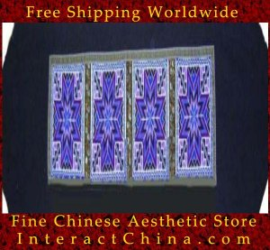 "Hand Cross Stitch Quilt Tapestry Throw 15x74"" Embroidery Textile Sewing Art #128"