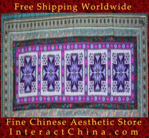 """Hand Cross Stitch Quilt Tapestry Throw 25x62"""" Embroidery Textile Sewing Art #126"""