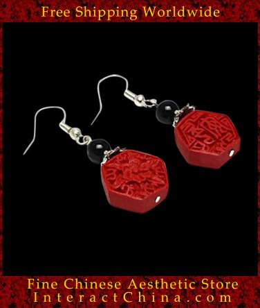 Genuine Fine Chinese Lacquer Drop Dangle Earring Jewelry 100% Handcraft Artwork #111 - FREE SHIPPING
