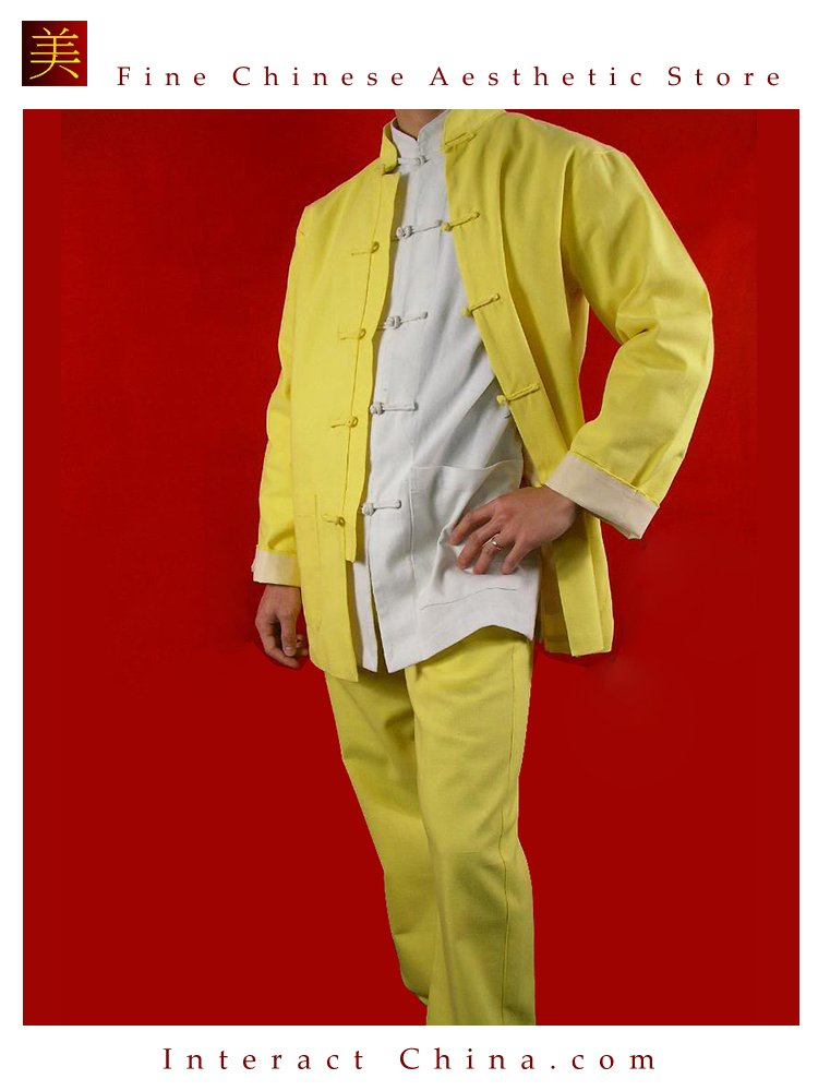 100% Cotton Golden  Kung Fu Martial Arts Tai Chi Uniform Suit XS-XL or Tailor Custom Made