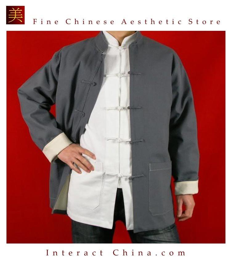 100% Cotton Grey Kung Fu Martial Arts Tai Chi Jacket Coat XS-XL or Tailor Custom Made