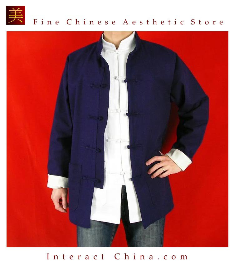 100% Cotton Blue Kung Fu Martial Arts Tai Chi Jacket Coat XS-XL or Tailor Custom Made