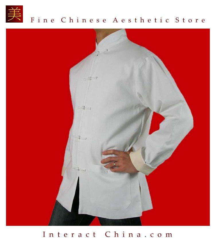 100% Cotton White Kung Fu Martial Arts Tai Chi Jacket Coat XS-XL or Tailor Custom Made