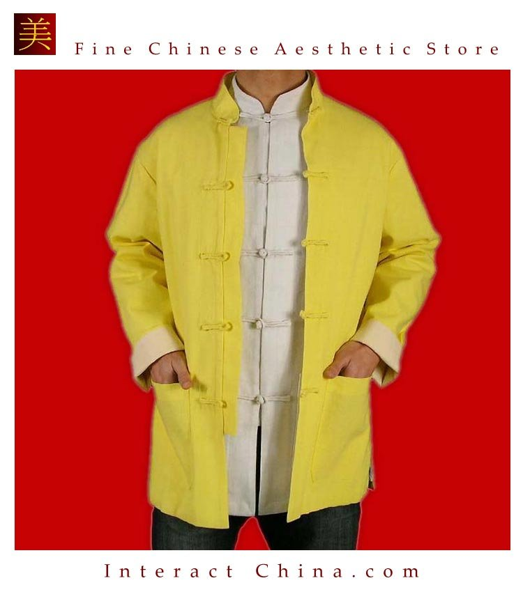 100% Cotton Golden Kung Fu Martial Arts Tai Chi Jacket Coat XS-XL or Tailor Custom Made