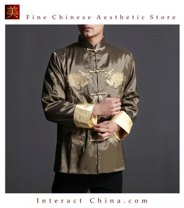 Stylish Green Kung Fu Men's Blazer Padded Jacket Dragon Shirt - 100% Silk #106