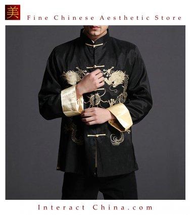 Stylish Black Kung Fu Men's Blazer Padded Jacket Dragon Shirt - 100% Silk #107