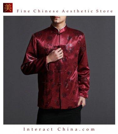 Classic Chinese Tai Chi Kungfu Red Jacket Blazer - Lightweight Silk Blend #203
