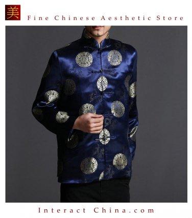 Classic Chinese Tai Chi Kungfu Blue Jacket Blazer - Lightweight Silk Blend #205