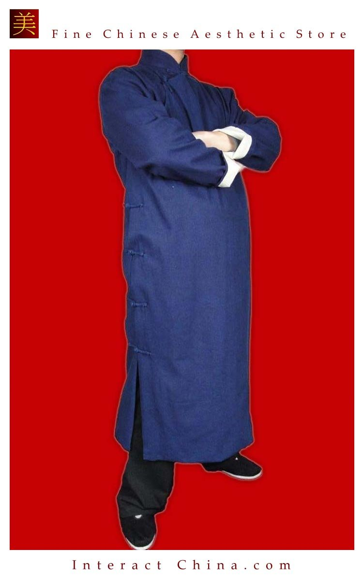 Premium Linen Blue Kung Fu Martial Arts Tai Chi Long Coat Robe XS-XL or Tailor Custom Made