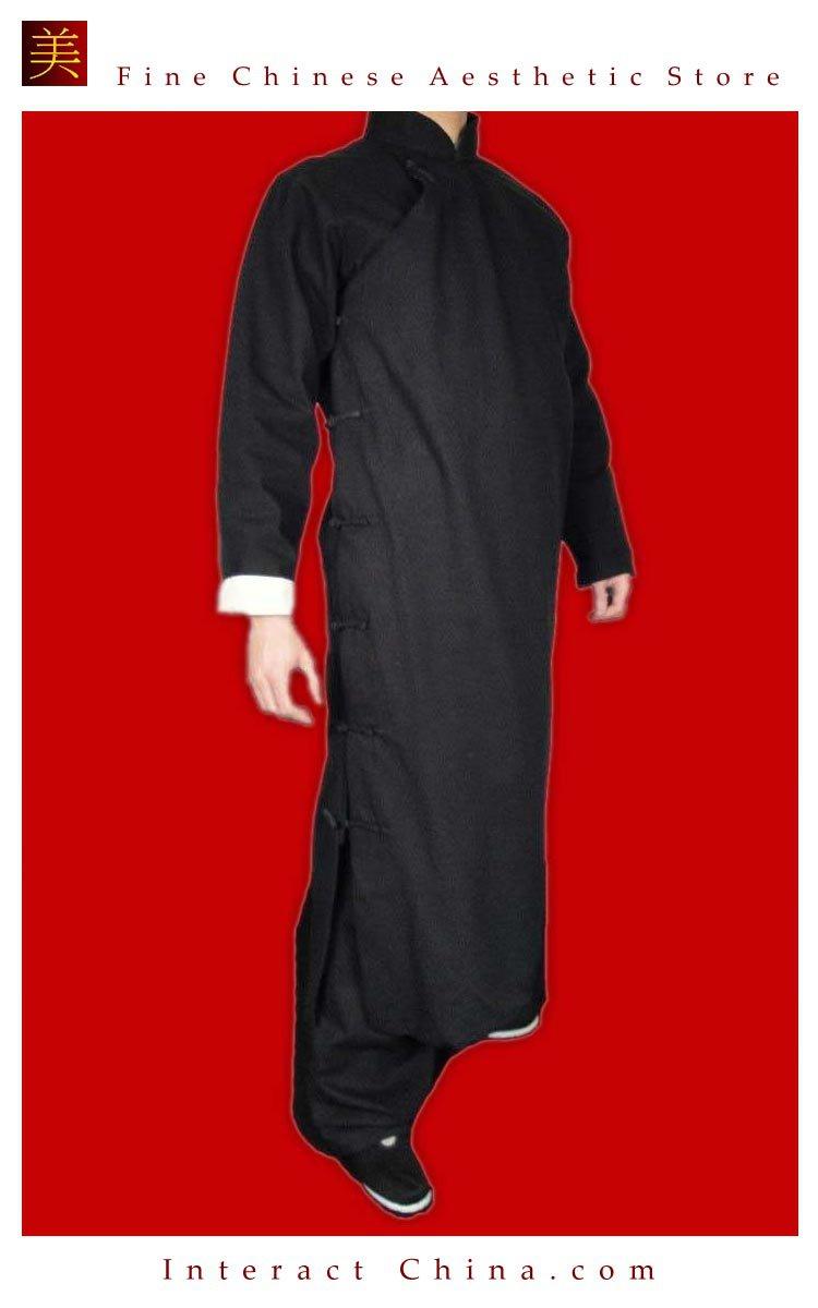 100% Cotton Black Kung Fu Martial Arts Tai Chi Long Coat Robe XS-XL or Tailor Custom Made
