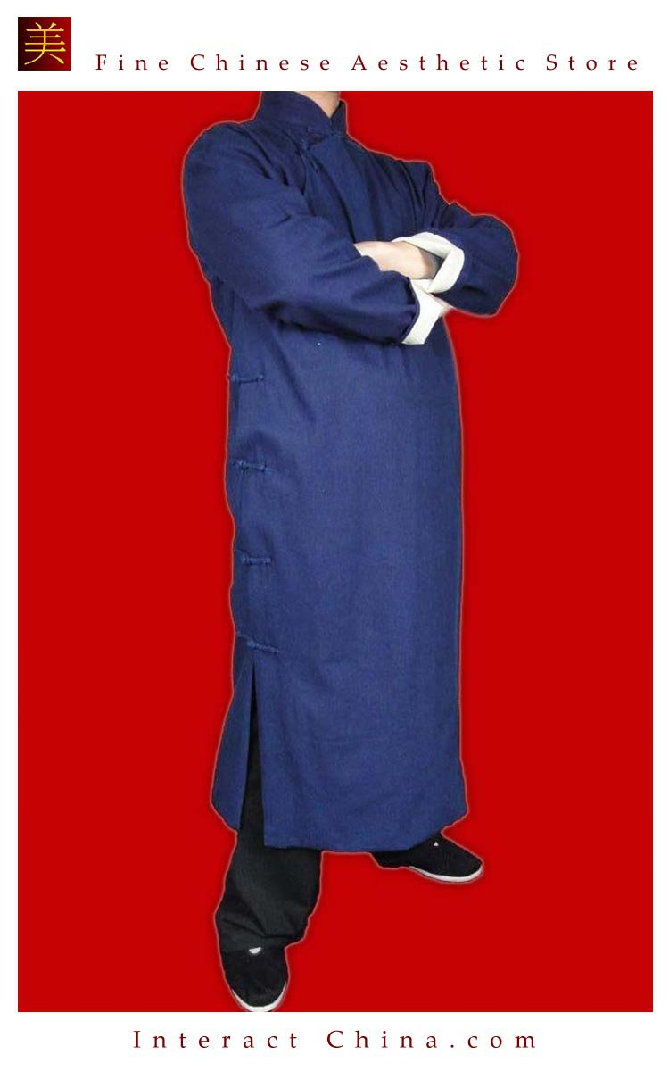 100% Cotton Blue Kung Fu Martial Arts Tai Chi Long Coat Robe XS-XL or Tailor Custom Made