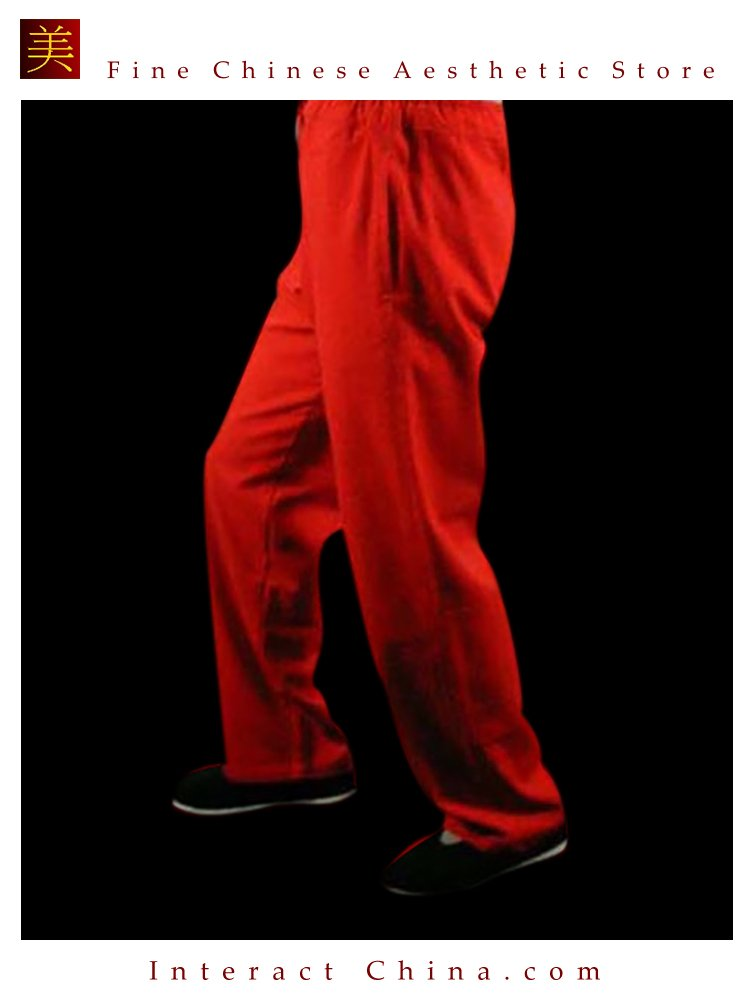 Fine Linen Red Kung Fu Martial Arts Taichi Pant Trousers XS-XL or Tailor Custom Made