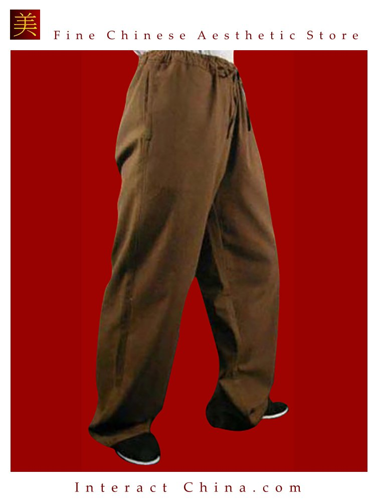 100% Cotton Brown Kung Fu Martial Arts Tai Chi Pant Trousers XS-XL or Tailor Custom Made