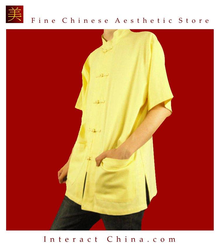 Fine Linen Golden Kung Fu Martial Arts Tai Chi Shirt Clothing XS-XL or Tailor Custom Made