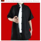 100% Cotton Black Kung Fu Martial Arts Tai Chi Shirt Clothing XS-XL or Tailor Custom Made