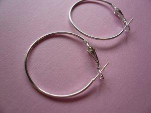 Silverplated Metal Hoop & Hook  Earwires 33mm