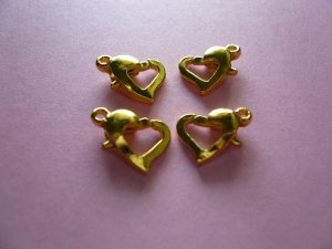 Gold Color Metal Heart Shaped Lobster Clasps