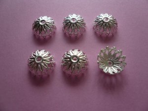 Silver Color Flower Filigree Bead Cap 12mm