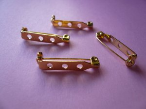 Goldplated Metal Brooch Bar Pin Backs *26mm or 1inch*