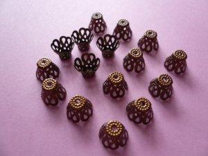 Copper Color Flower Filigree Bead Cap 9mm