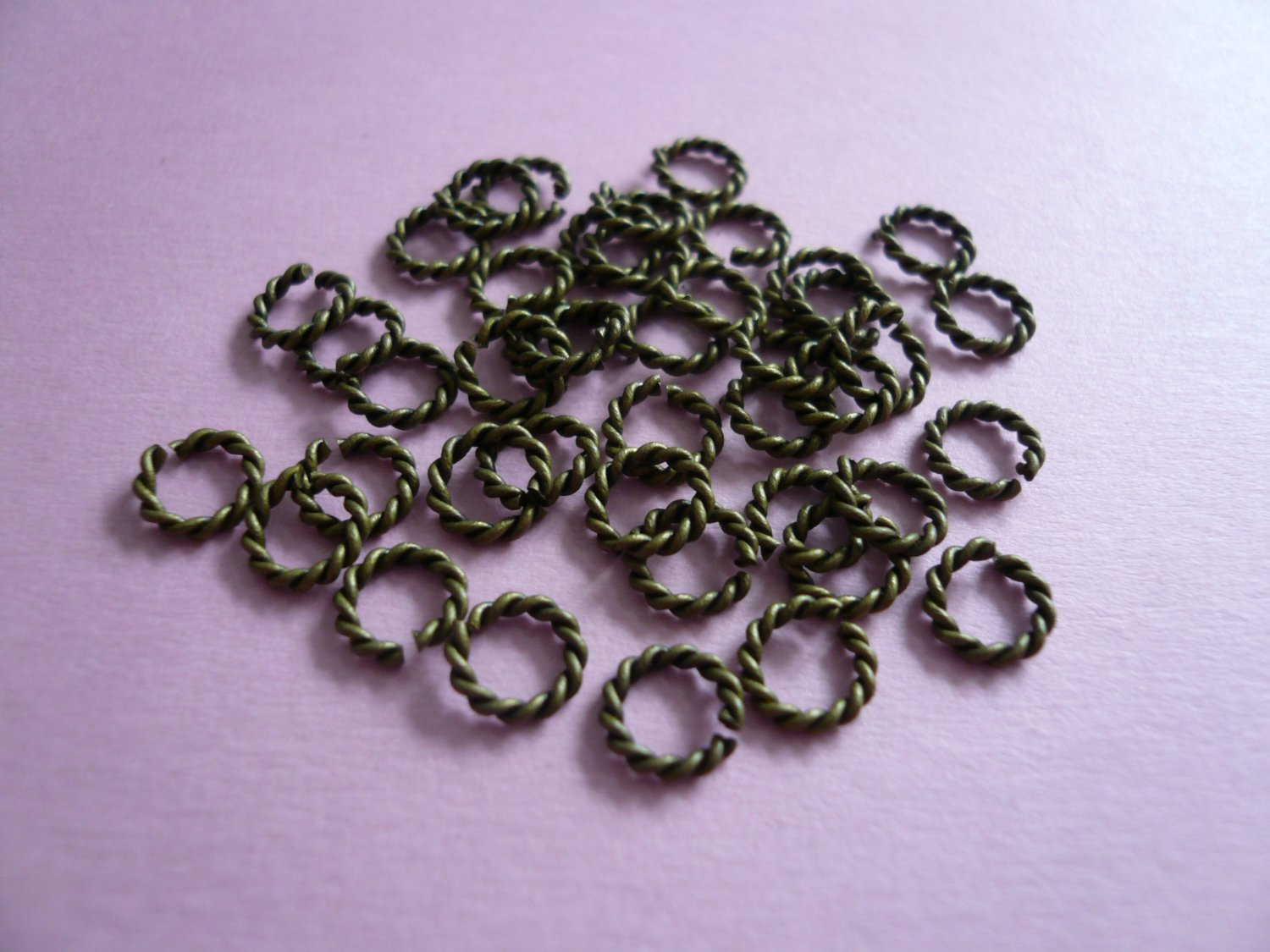 Antique Bronze Color Twisted Open Jump Rings  6mm