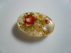 Red Tensha Floral Oval Pendant Focal Bead
