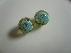 Blue Tensha Floral Beads 12mm