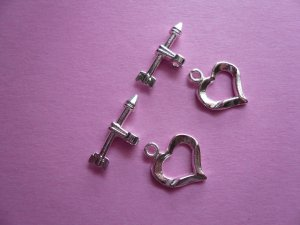 Silverplated Metal Heart & Arrow Toggle Clasps