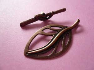 Copper Leaf Toggle Clasps