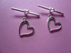 Silverplated Metal Heart Toggle Clasps