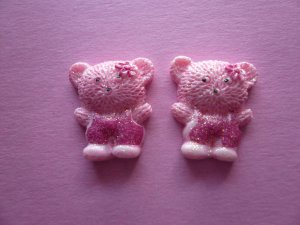 Pink Glitter Teddy Bear Cabochons