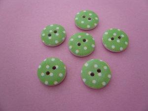 Green Polka Dot Wooden Buttons 15mm