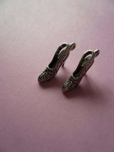 High Heel Antique Silver Shoe Charms 6PCS