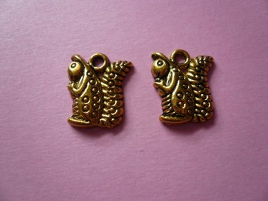 Antique Gold Squirrel Charms 6PCS