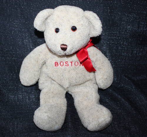 "NEW BROWN BOSTON STUFFED TEDDY BEAR TRAVEL SOUVENIR 13"""