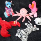 TY BEANIE BABY INKY PINCHERS SEAMORE PRANCE HODGE PODGE