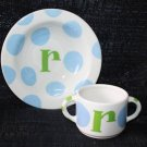NEW COTON COLORS MONOGRAM INITIAL R CERAMIC BOWL & CUP