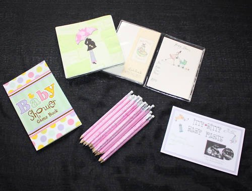 BABY SHOWER INVITATIONS NAPKINS GAMES GIRL PENCILS
