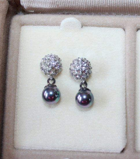 NEW Krementz Clear White Crystal Silver Blue earrings