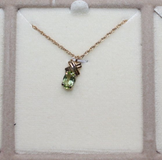 NEW Krementz Peridot birthstone necklace 14kt overlay