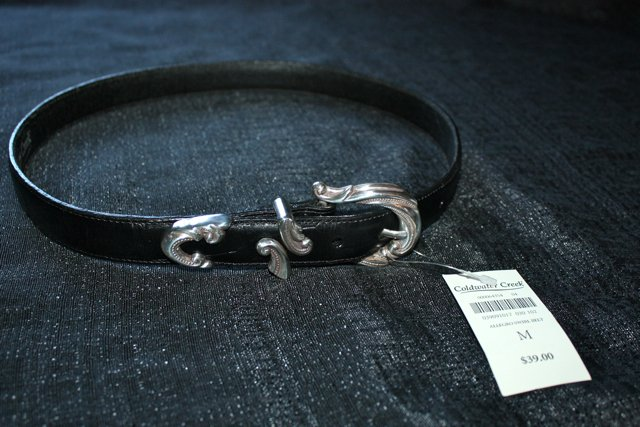 "Coldwater Creek NEW black leather ""Allegro Swirl"" belt with silver buckle"