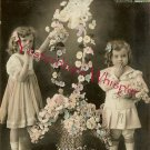 Edwardian YOUNG Sisters FLOWER French ORG postcard P107