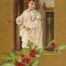 c.1908 CHRISTMAS Greetings CHILD Holly postcard P152