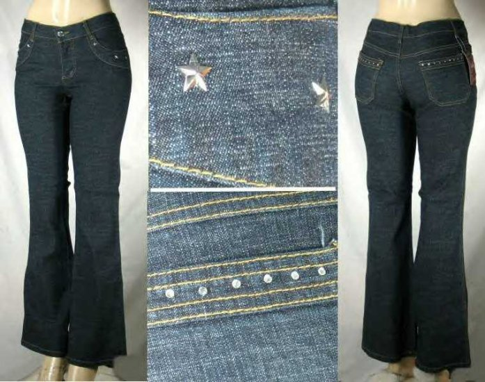 Annie - 5 Pocket Jeans with Acrylic Stone Rear Pocket Trim and Front Star Design