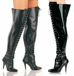 Vanity  Women's Ultra Wide Lace Up Thigh High Boots