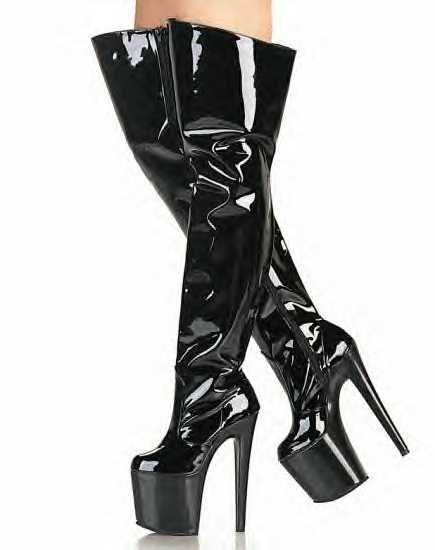 Uptown  Women's Thigh High Boots with Spike Heel and Wide Top
