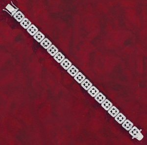 Designer Style CZ Bracelet with Square Links