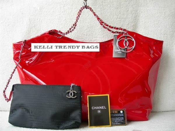 CHANEL COCO CABAS RED LEATHER BAG
